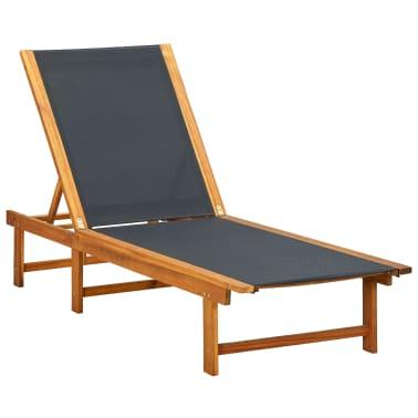 vidaXL Ligbed met tafel massief acaciahout en textileen[2/10]