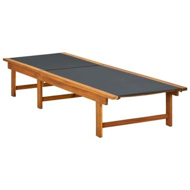 vidaXL Ligbed met tafel massief acaciahout en textileen[4/10]
