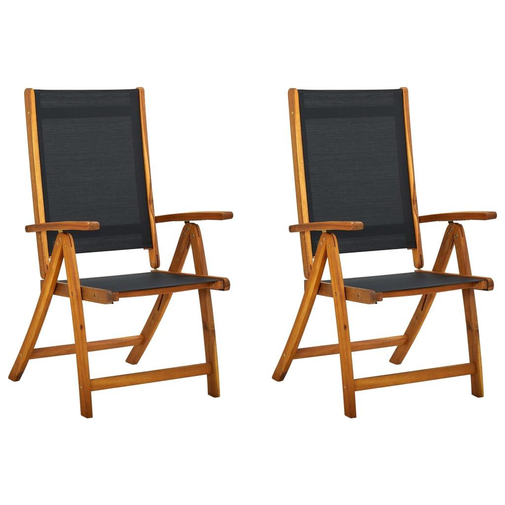 vidaXL Καρέκλες Κήπου Πτυσσόμενες 2 τεμ. Μασίφ Ξύλο Ακακίας/Textilene