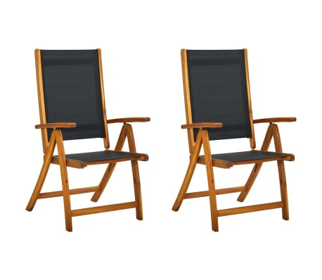 vidaXL Folding Garden Chairs 2 pcs Solid Acacia Wood and Textilene