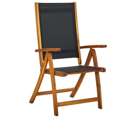 vidaXL Sklopive Stolice 2 kom Bagremovo drvo Crne[2/5]