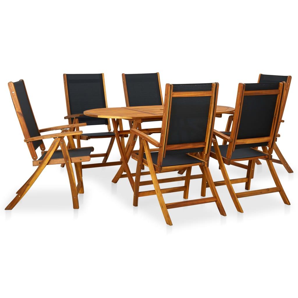 vidaXL Zahradní jídelní set, 7 kusů, akáciové dřevo, skládací
