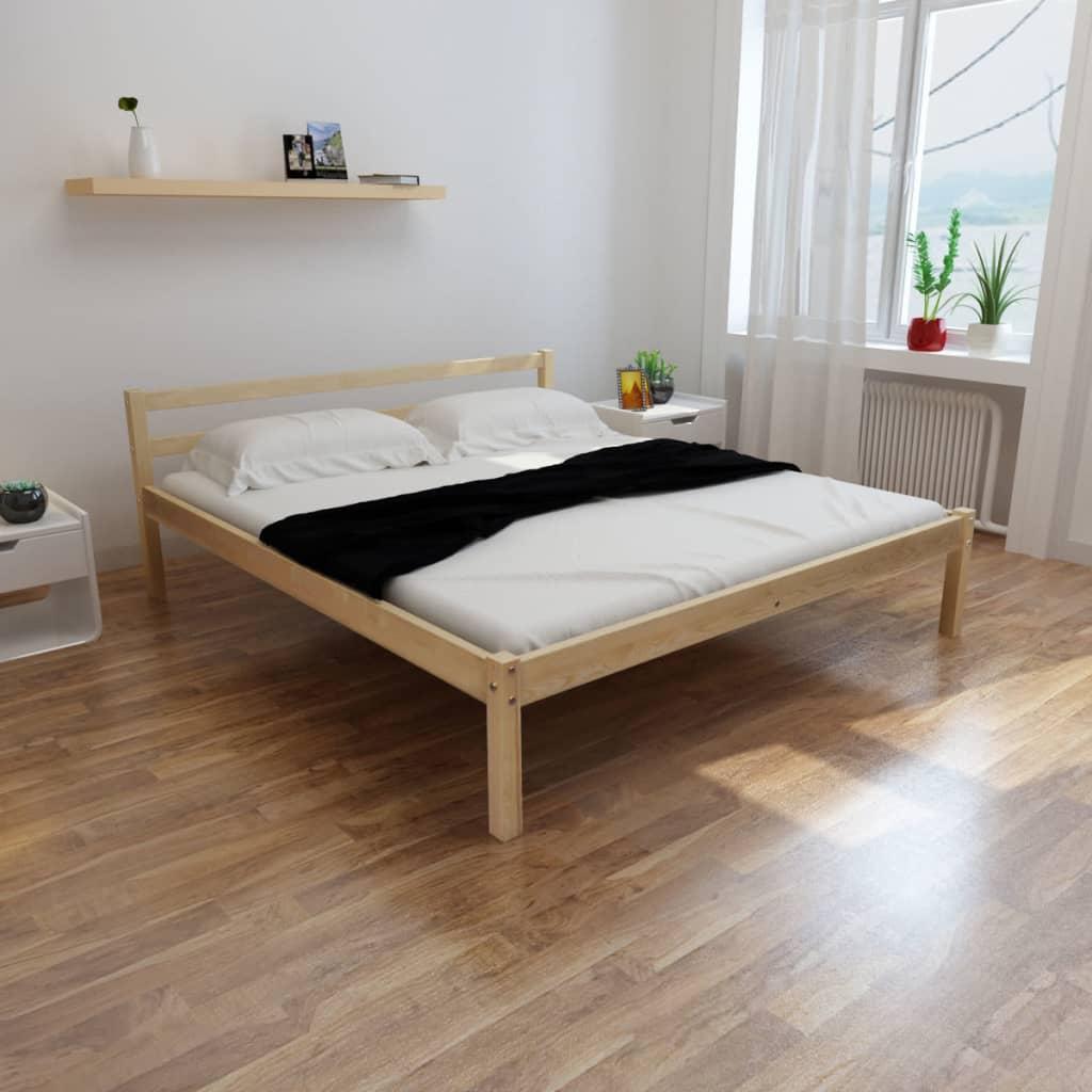 vidaXL Κρεβάτι σε Φυσικό Χρώμα 160 x 200 εκ. από Μασίφ Ξύλο Πεύκου
