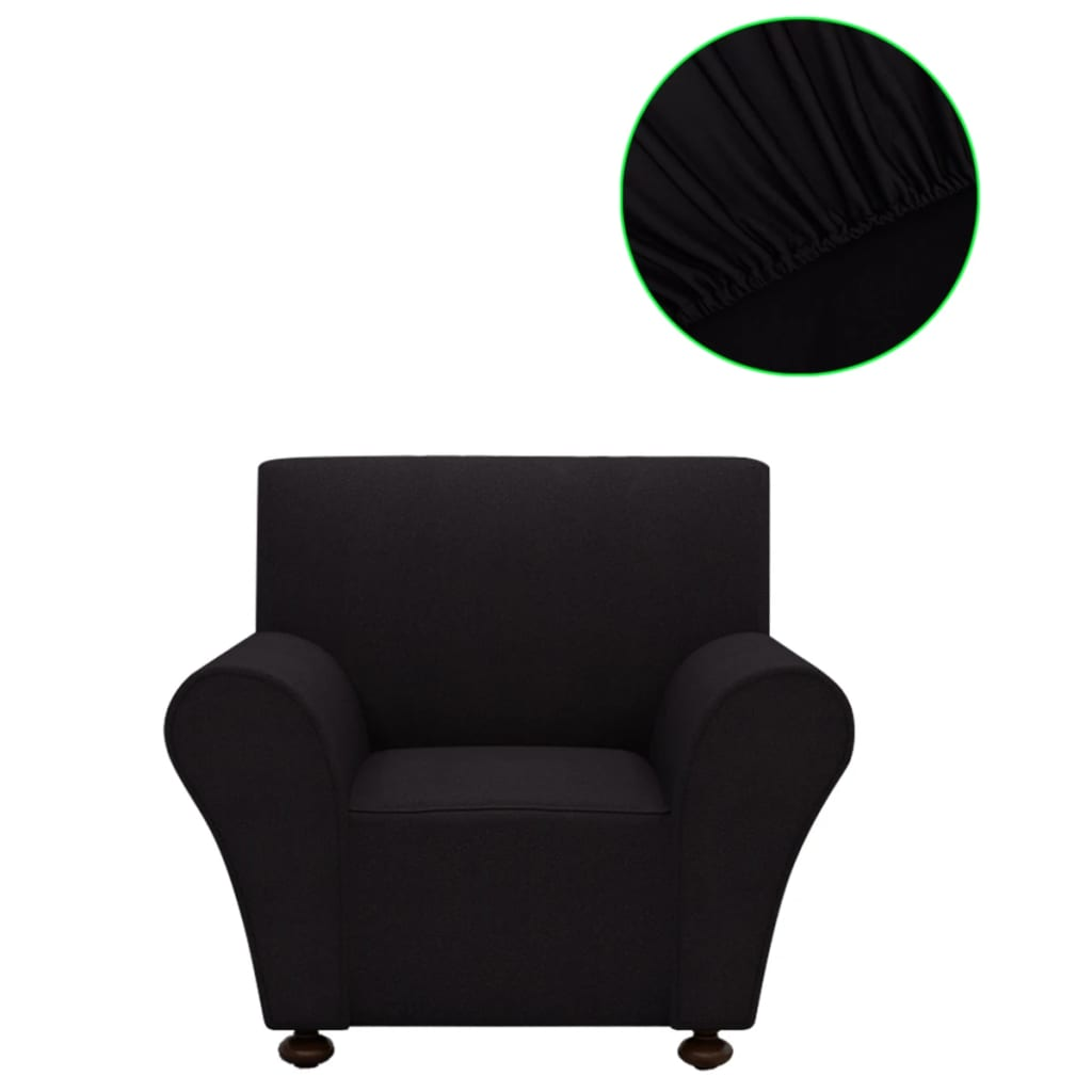 vidaXL Husă elastică pentru canapea poliester jersey negru poza 2021 vidaXL
