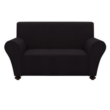 vidaXL funda elástica para sofá de tela jersey de poliéster negra[1/5]