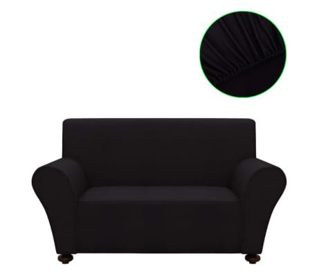 vidaXL funda elástica para sofá de tela jersey de poliéster negra[2/5]