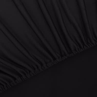 vidaXL funda elástica para sofá de tela jersey de poliéster negra[4/5]