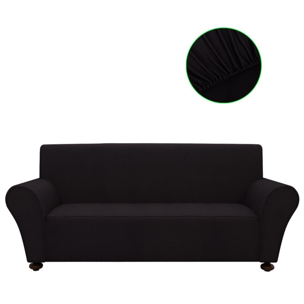 vidaXL Strečový potah na pohovku, černý polyesterový žerzej