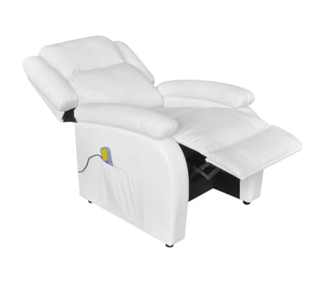 Electric Massage Recliner Chair Artificial Leather White[4/9]