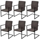 vidaXL Jedálenské stoličky, perová kostra 6 ks, hnedé, umelá koža