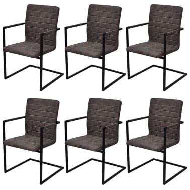 vidaXL Dining Chairs 6 pcs Cantilever Brown[1/8]
