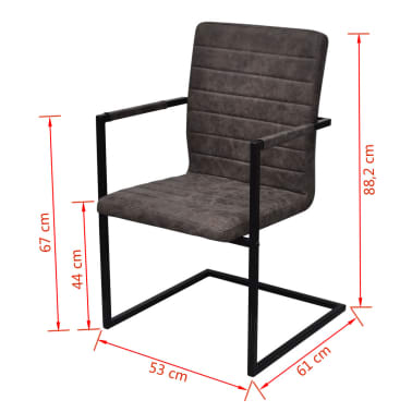 vidaXL Dining Chairs 6 pcs Cantilever Brown[8/8]