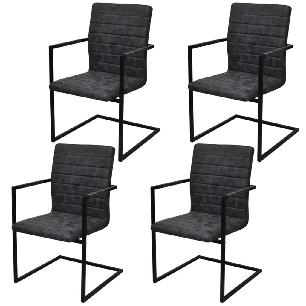 vidaXL Καρέκλες Τραπεζαρίας «Πρόβολος» 4 τεμ. Μαύρες Συνθετικό Δέρμα