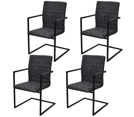 vidaXL Dining Chairs 4 pcs Cantilever Black[1/8]