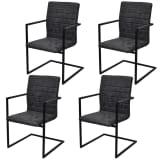 vidaXL Jedálenské stoličky, perová kostra 4 ks, čierne, umelá koža
