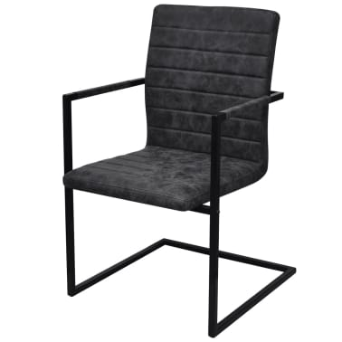 vidaXL Dining Chairs 4 pcs Cantilever Black[3/8]