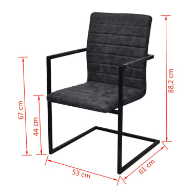 vidaXL Dining Chairs 4 pcs Cantilever Black[8/8]
