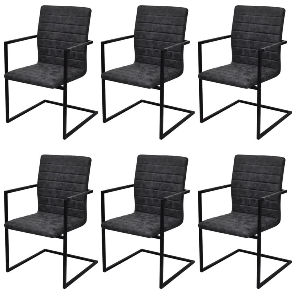 vidaXL Καρέκλες Τραπεζαρίας «Πρόβολος» 6 τεμ. Μαύρες