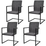vidaXL 4 konzolové jedálenské stoličky s opierkami, sivé