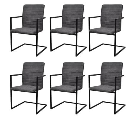 vidaXL Jedálenské stoličky, perová kostra 6 ks, sivé, umelá koža