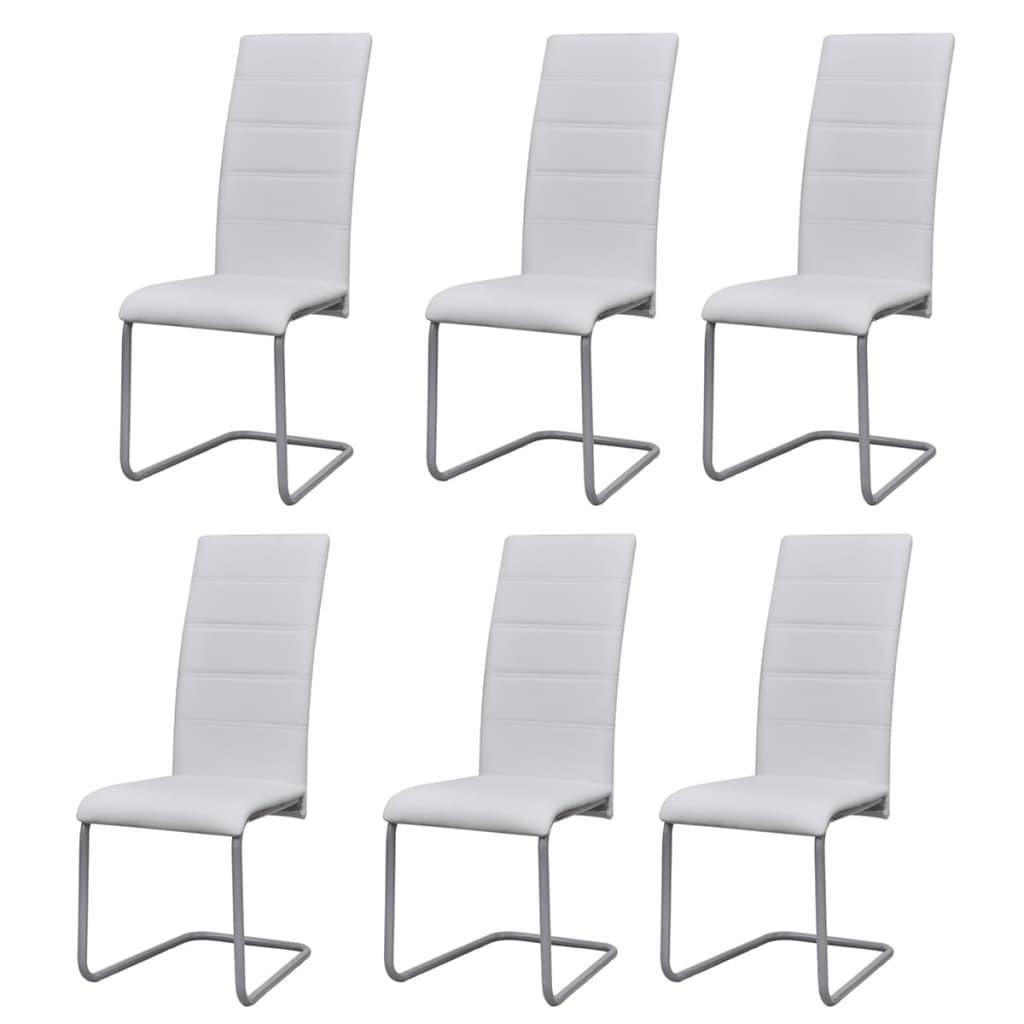 vidaXL Καρέκλες Τραπεζαρίας «Πρόβολος» 6 τεμ. Λευκές Συνθετικό Δέρμα