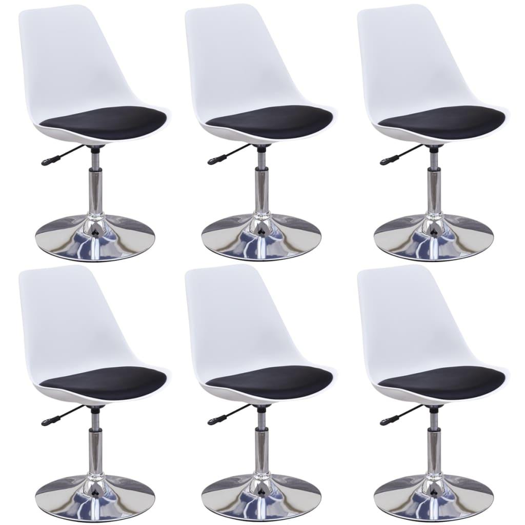 vidaXL Καρέκλες Τραπεζαρίας Περιστρεφόμ. 6 τεμ. Ασπρόμαυρες Δερματίνη
