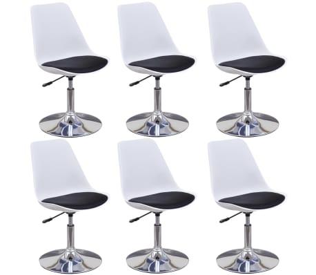 vidaXL Valgomojo kėdės, 6 vnt., baltos ir juodos spalvos, pasukamos