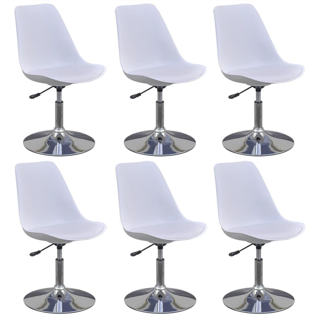 vidaXL Καρέκλες Τραπεζαρίας Περιστρεφόμενες 6 τεμ. Λευκές Δερματίνη