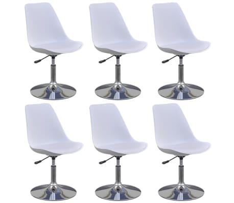 vidaXL Otočné jedálenské stoličky 6 ks, biele, umelá koža