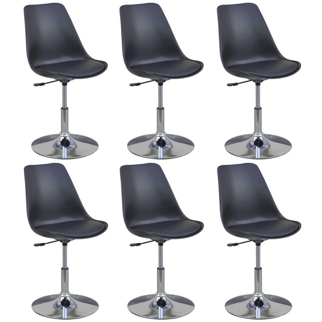 vidaXL Καρέκλες Τραπεζαρίας Περιστρεφόμενες 6 τεμ. Μαύρες Δερματίνη