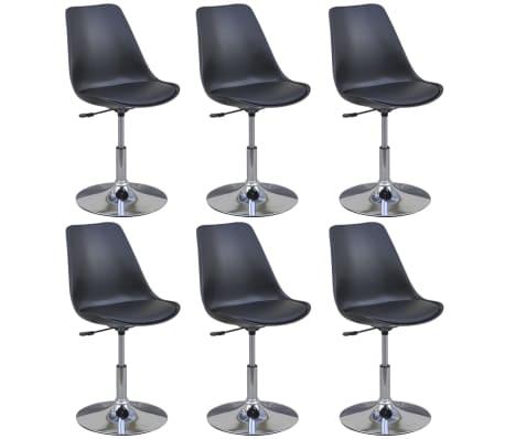 vidaXL Otočné jedálenské stoličky 6 ks, čierne, umelá koža