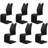 vidaXL 6 čiernych konzolových jedálenských stoličiek s madlami z umelej kože