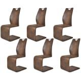 vidaXL Jedálenské stoličky 6 ks, hnedé, umelá koža
