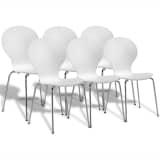 6 Sukraunamos drugelio formos valgomojo kėdės, baltos