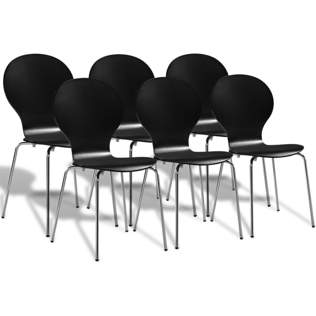 Καρέκλες Τραπεζαρίας Butterfly Στοιβαζόμενες 6 τεμ. Μαύρες