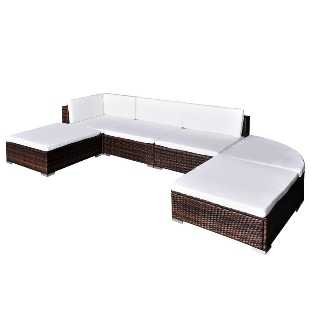 vidaXL Utendørs sofagruppe 16 deler brun polyrotting