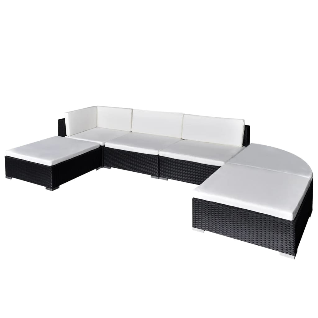 vidaXL Utendørs sofagruppe 16 deler svart polyrotting