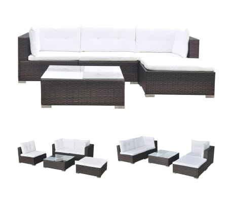 vidaXL 5 Piece Garden Lounge Set with Cushions Poly Rattan Brown