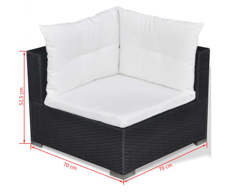 vidaXL Loungegrupp för trädgården med dynor 5 delar konstrotting svart[14/16]
