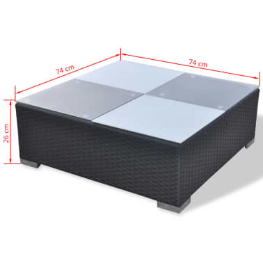 vidaXL Loungegrupp för trädgården med dynor 5 delar konstrotting svart[16/16]
