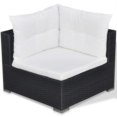 vidaXL Loungegrupp för trädgården med dynor 5 delar konstrotting svart[9/16]