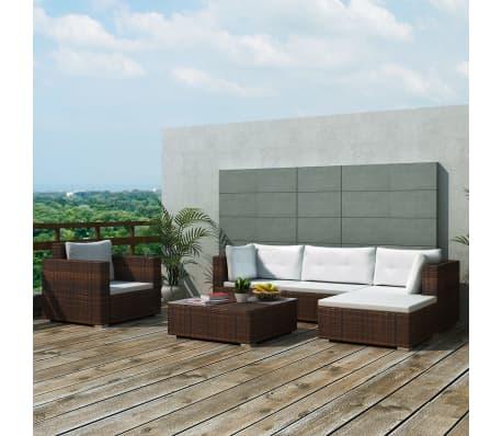 Vidaxl set divano da giardino 17 pz in polirattan marrone - Set divano giardino ...