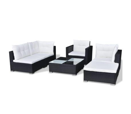 vidaXL Loungegrupp för trädgården med dynor 6 delar konstrotting svart[5/18]