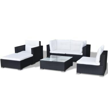vidaXL Loungegrupp för trädgården med dynor 6 delar konstrotting svart[6/18]