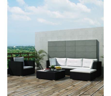 Vidaxl set divani da giardino 17 pz in polirattan nero for Set divani da giardino