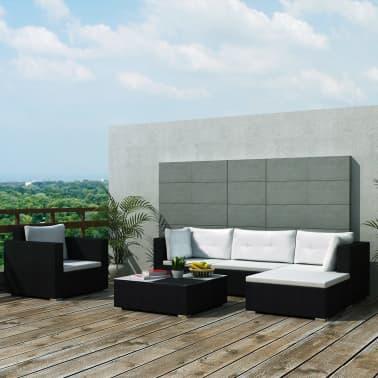 vidaXL Loungegrupp för trädgården med dynor 6 delar konstrotting svart[1/18]