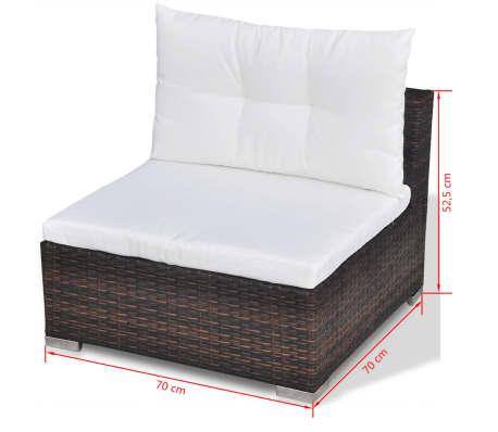 Vidaxl set divani da giardino 32 pz in polirattan marrone for Set divani da giardino