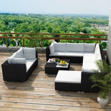 vidaXL Conjunto de muebles de jardín 32 piezas poli ratán negro ...