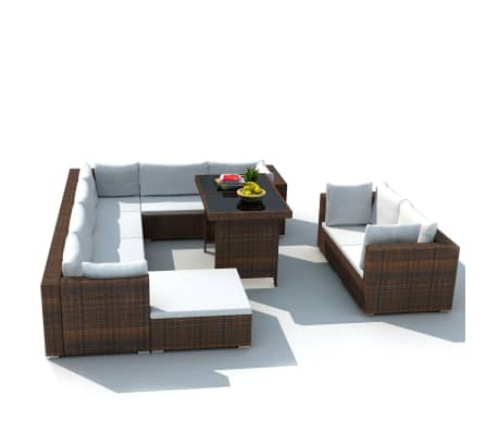 vidaXL 10 Piece Garden Lounge Set with Cushions Poly Rattan Brown
