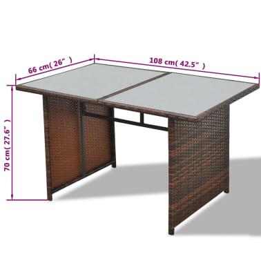 vidaXL 10-daļīgs dārza atpūtas mēbeļu komplekts ar matračiem, brūns PE[13/13]